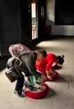 Langzhong, China: Family Praying at Huanhou Temple Stock Image