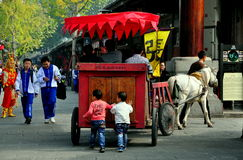 Langzhong, China: Horse Cart with Two Little Boys Stock Image
