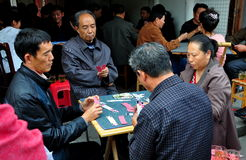 Langzhong, China: People Playing Cards Royalty Free Stock Photography