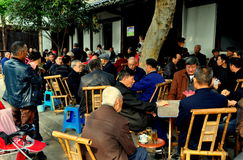 Langzhong, China: Seniors Playing Cards at Teahouse Stock Photo