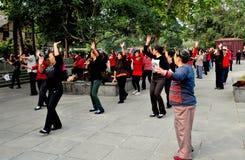 Langzhong, China: Women Dancing in Unisom Royalty Free Stock Photo