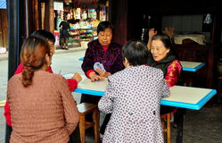 Langzhong, China: Women Playing Cards Stock Photos