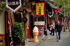 Langzhong, China: Wumiao Street Shops Stock Images