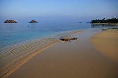 Lanikai beach in hawaii at dusk Stock Images