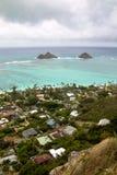 Lanikai Beach, Oahu. View from the Pillbox Trail over Lanikai Beach and Kailua Bay with the two small islands Moku Iki and Moku Nui on Oahu, Hawaii, USA Stock Image