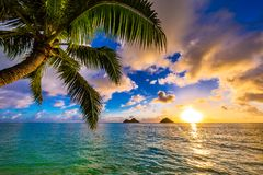 Lanikai Beach Sunrise. Sunrise from the world famous Lanikai Beach in Kailua Stock Photo