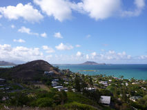 Lanikai and Kailua Bay from top mountain on O'ahu, Hawai'i Royalty Free Stock Photo
