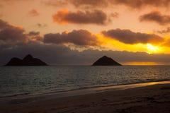 Lanikai Sunrise. Sunrise over the Mokulua Islands off Lanikai, Oahu, Hawaii royalty free stock images