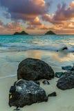 Lanikai Sunrise. Sunrise over Na Mokulua in Lanikai on east Oahu, Hawaii Stock Photos
