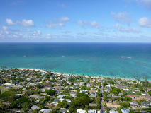 Lanikai town, beach, and Pacific Ocean Stock Image