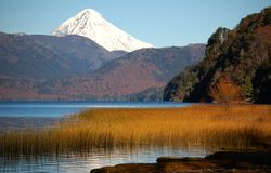 Lanin volcano and Quillen lake. royalty free stock photos
