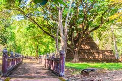 Lanka style ruins pagoda of Wat Mahathat temple in Muang Kao Historical Park, the ancient city of Phichit, Thailand. This tourist. Attraction is public historic royalty free stock photography