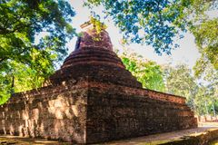 Lanka style ruins pagoda of Wat Mahathat temple in Muang Kao Historical Park, the ancient city of Phichit, Thailand. This tourist. Attraction is public historic royalty free stock image