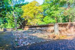 Lanka style ruins pagoda of Wat Mahathat temple in Muang Kao Historical Park, the ancient city of Phichit, Thailand. This tourist. Attraction is public historic stock image