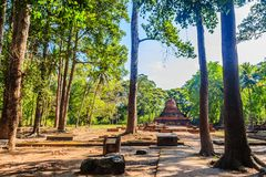 Lanka style ruins pagoda of Wat Mahathat temple in Muang Kao Historical Park, the ancient city of Phichit, Thailand. This tourist. Attraction is public historic royalty free stock photo