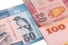 Lankan τραπεζογραμμάτια Sri 100.20.50 ρουπίων που απομονώνονται στο άσπρο υπόβαθρο με το ψαλίδισμα της πορείας Στοκ φωτογραφία με δικαίωμα ελεύθερης χρήσης