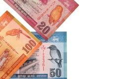 Lankan τραπεζογραμμάτια Sri 100.20.50 ρουπίων που απομονώνονται στο άσπρο υπόβαθρο με το ψαλίδισμα της πορείας Στοκ εικόνες με δικαίωμα ελεύθερης χρήσης