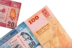 Lankan Banknoten Sri von 100,20,50 Rupien lokalisiert auf weißem Hintergrund mit Beschneidungspfad Stockfotografie