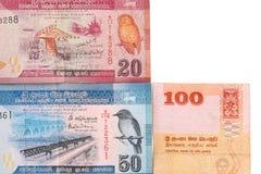 Lankan Banknoten Sri von 100,20,50 Rupien lokalisiert auf weißem Hintergrund mit Beschneidungspfad Lizenzfreie Stockbilder