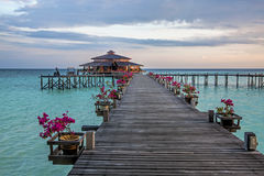 Lankayan Island. Resort at sunset in Borneo, Malaysia Stock Photography