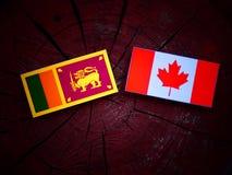 Lankijczyk flaga z kanadyjczyk flaga na drzewnym fiszorku odizolowywającym obrazy royalty free