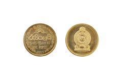 Lankijczyk jeden rupii moneta Zdjęcie Royalty Free