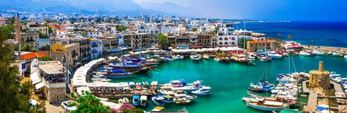 Lanmarks of Cyprus - beautiful Kyrenia in northen turkish part Royalty Free Stock Photo