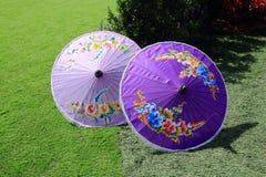 Lanna Chiang Mai Umbrellas Spreading On Artificial Grass Stock Photos