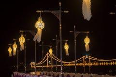 Lanna lampion, lampion tajlandzka stylowa dekoracja przy Loi Krathong Sai festiwalem Tak, Tajlandia Zdjęcia Stock