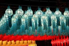 Lanna lampiony, Tajlandzki styl lampiony przy Loi Krathong festiwalem ja Obrazy Royalty Free
