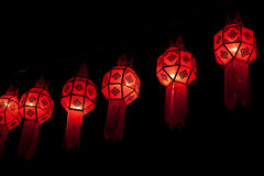 Lanna lanterns in the nighttime. Red lanna lanterns in the nighttime Royalty Free Stock Photo