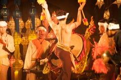 Lanna local wisdom concerning the Klong Sabad Chai Drum beat . BANGKOK THAILAND - JANUARY 27 , 2017 : Unidentified Klong Sabad Chai dance is Northern stock photos