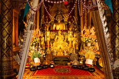 Lanna Style Buddha In Tah Mai I Temple Royalty Free Stock Photography