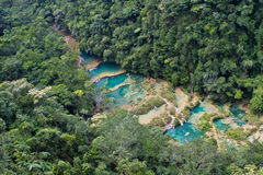 Lanquin waterfalls. The blue pools of the Lanquin waterfalls from above stock photography