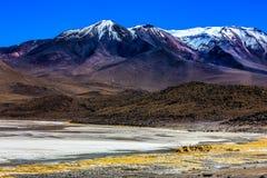 Lanscape,当旅行在拉古纳Verde,玻利维亚时 免版税库存图片