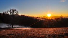 Lanscape горы морозное, сцена зимы Стоковые Изображения RF
