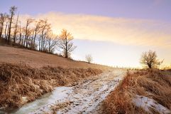 Lanscape горы морозное, сцена зимы Стоковое Изображение RF