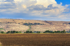 Lanscape with arable and mountains background. Lanscape with arable and mountains on the background. Blue sky with white clouds. Midle East, Israel. Autumn Royalty Free Stock Photography