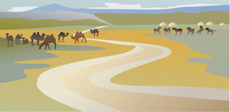 Lanscape with camels and horses Royalty Free Stock Photography