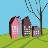 Lanscape con las casas Foto de archivo libre de regalías