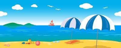Lanscape de détente de mer, ligne sans couture vecteur Photographie stock libre de droits