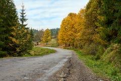 Lanscape de route de montagne avec des nuages et des arbres colorés Photographie stock libre de droits