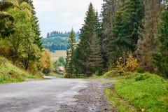 Lanscape de route de montagne avec des nuages et des arbres colorés Photo libre de droits