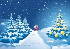 Lanscape del invierno con el árbol de navidad brillante Fotografía de archivo