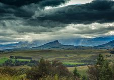 Lanscape of the Drakensberge near the city of Underberg during bad weather conditions Royalty Free Stock Photography