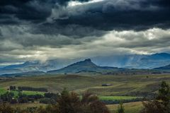 Lanscape of the Drakensberge near the city of Underberg during bad weather conditions Stock Image