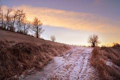 Lanscape escarchado de la montaña, escena del invierno Imágenes de archivo libres de regalías