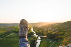 Lanscape and Foot in Sneaker Royalty Free Stock Photos