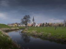 Lanscape holandés de la espina con la iglesia Imágenes de archivo libres de regalías