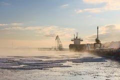 Lanscape industrial do inverno nevoento bonito Bulker em um porto, madeira de carregamento Foto de Stock Royalty Free
